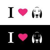 Я люблю сообщение собак символическое Стоковые Изображения