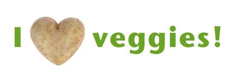 Я люблю текст veggies (сердца) зеленый Стоковое Изображение