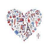 Я люблю Францию, собрание значков Эскиз для вашего дизайна Стоковое Изображение