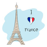 Я люблю Францию Бесплатная Иллюстрация