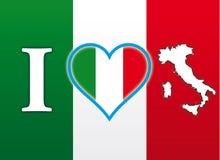 Я люблю флаг Италии Стоковая Фотография RF