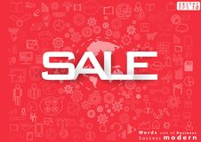 Words sale of Business Success modern design Idea and Concept Vector illustration with World ,icon. Vector words sale of Business Success modern design Idea and vector illustration