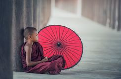 พระ, Umbrella, Eat, Asia, Burma Stock Images