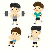 ฺBoy In various types of fitness vector illustration
