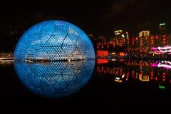 '上升的月亮'灯笼在香港 库存图片