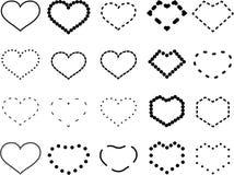 '传染媒介在破折号样式设置的心脏象,该死的传染媒介爱标志,与白色背景爱题材的设计元素隔绝的 ` 皇族释放例证