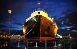 '列宁'-核能发动的破冰船,与一个核电站的世界的第一艘水面舰艇 免版税库存照片
