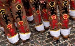 '吉勒斯'跳舞,班什花边狂欢节,比利时 免版税库存图片