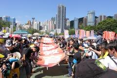 '国民教育'在香港提高狂怒 库存图片