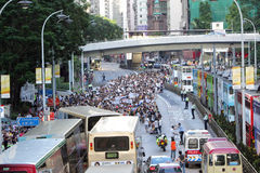 '国民教育'在香港提高狂怒 免版税库存图片