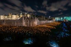 '在加深的伦敦塔护城河的阴影之外'轻的设施由设计师汤姆吹笛者和合理的艺术家米拉餐杯 免版税库存照片