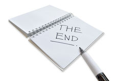 '在笔记本'写的末端 免版税库存照片