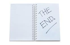 '在笔记本'写的末端 库存照片