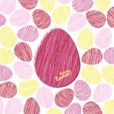 '复活节快乐!'卡片 与被抓的纹理的复活节彩蛋 免版税库存图片