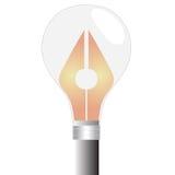'想法' :在白炽灯的笔 库存图片