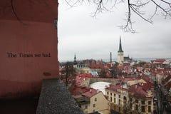 '时代我们had'wall塔林爱沙尼亚 免版税图库摄影