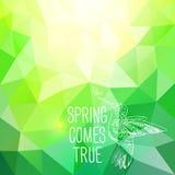 '春天实现'与鸟的抽象多角形背景。能 库存图片