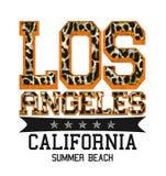 '洛杉矶,加利福尼亚,夏天海滩'印刷术,T恤杉打印 向量例证