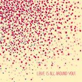 '爱是所有在您附近!'贺卡 复制文本的空间 免版税库存图片