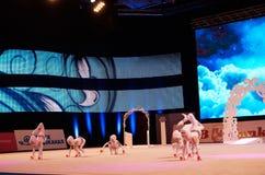 '婴孩杯- BSB银行'儿童的竞争在体操, 2015年12月05日方面在米斯克,白俄罗斯 免版税图库摄影