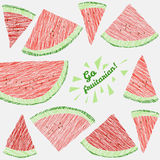 '去fruitarian!'卡片 与被抓的西瓜切片的五颜六色的明信片 免版税库存照片