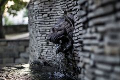 'A cabeça do leão 'do ferro fundido fonte imagens de stock royalty free