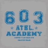 'athl tipografia da academia ', gráficos ostentando do t-shirt ilustração stock