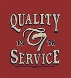 'calidad, la tipografía del servicio, gráficos de la camiseta que se divierten stock de ilustración