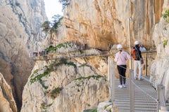 'El Caminito del Rey' (Little Path)国王的,世界的多数危险 免版税库存图片