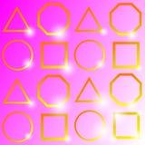 'Geometría de oro brillante, en fondo rosado, ejemplo del vector ` stock de ilustración