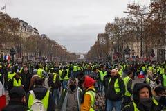 'Gilets Jaunes的示范的在巴黎,法国 免版税图库摄影