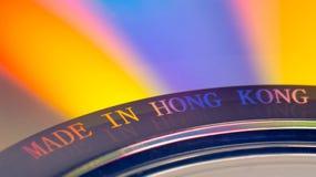 ?Hecho en etiqueta de Hong Kong ?en un CD foto de archivo libre de regalías