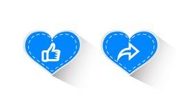 'Iconos del vector, pulgares para arriba y compartir diseños gráficos en el concepto de amor Los medios sociales aman el símbolo  ilustración del vector