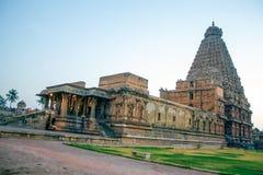 'O templo de Brihadisvara, Tanjavur ', que foi inscreido previamente na lista do patrimônio mundial, é parte 'da grande vida Chol imagens de stock