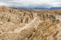 'Quebrada de las Flechas'是岩层全国路线40位于萨尔塔省,阿根廷 图库摄影