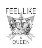 'sinta como tipografia de uma rainha ', gráfico do t-shirt ilustração do vetor