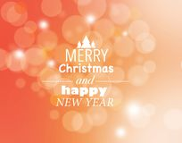 'Texto do Feliz Natal e do ano novo feliz 'no bokeh ilustração royalty free