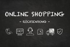'Texto e iconos en línea del cksendung del ¼ de RÃ que hacen compras 'en fondo del tablero de tiza Traducci?n: ?vuelta ? libre illustration