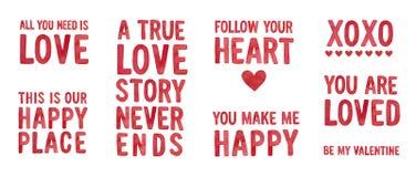 'Usted me hace 'la colección feliz de las citas del amor imágenes de archivo libres de regalías