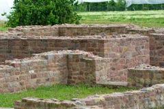 'Vailla rustica'废墟,古老罗马修建的乡下别墅在乡下在希施贝里sGroßsachsen 免版税库存照片