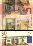 ¬ 'â счет банкноты 50 евро в покрашенном коллаже Стоковое фото RF