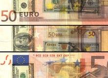 ¬ 'â счет банкноты 50 евро в покрашенном коллаже Стоковое Изображение RF
