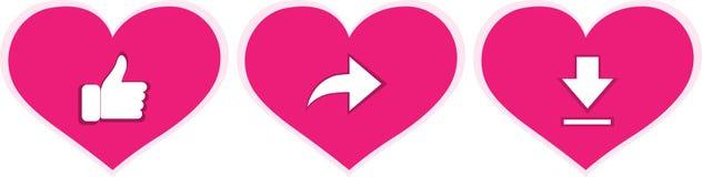 'Amuseer, deel uw hart, het vectorpictogram van de downloadliefde Duim-op pictogrammen die, die en op symbolen van liefde delen d stock illustratie
