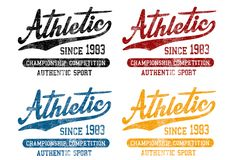 'Atletisch sinds 1983 ', 'de kampioenschapsconcurrentie ', 'authentieke sport 'patroon royalty-vrije illustratie