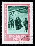 'Das Hängen 'durch Vasil Levski, 100. Todestag von Vasil Levski-serie, circa 1973 lizenzfreie stockfotografie