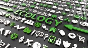 'ecologie 'woord met 3d pictogrammen stock illustratie