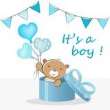 'Es ist ein Junge ' Babypartygru?karten-Vektorillustration stock abbildung