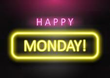 'Gelukkige Maandag die 'neonkleur op donkere concrete bakstenen muurachtergrond verwoorden vector illustratie
