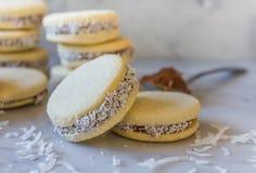 'Heerlijke traditionele Argentijnse de sandwichkoekjes van Alfajores die met gekarameliseerde melk worden gevuld - 'dolce DE lech royalty-vrije stock afbeeldingen
