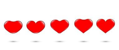 'Herzikonensatz, Änderung des roten Herzens, Funkeln Liebessymbole auf einem weißen Hintergrund für Valentinstag Grafischer Ikone stockbilder